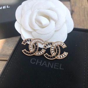 Large 2 tone Chanel cc logo stud earrings